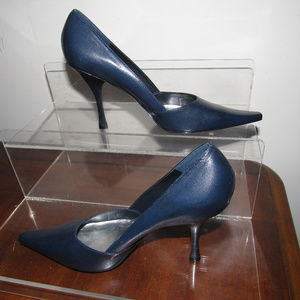BCBGIRLS Navy Leather Pointy Toe Heels Shoes 10B